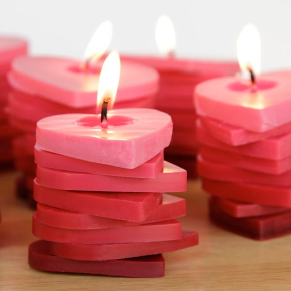 How to make  sweet heart-shaped candles