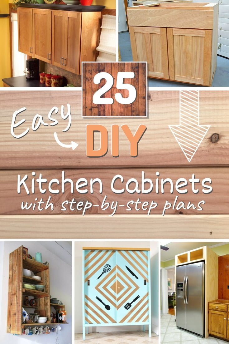 Want to build your own kitchen cabinets? It's doable. Here are 25 easy DIY kitchen cabinets with step-by-step plans! #DIY #kitchendesign #homedecor