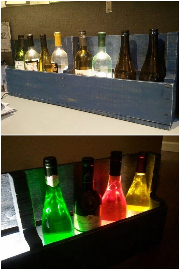 How to make a #DIY LED lit Wine Rack #homedecor