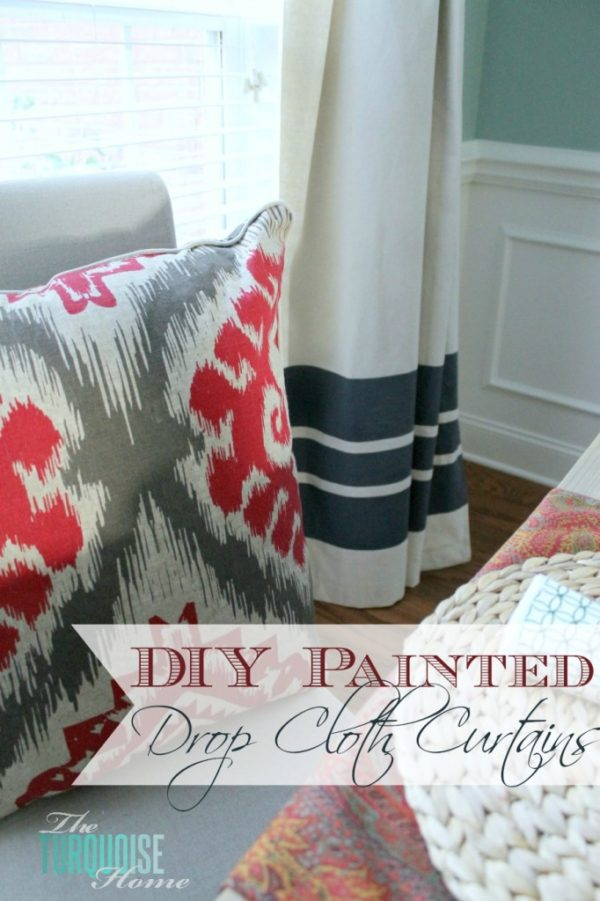 How to make #DIY Painted Drop Cloth Curtains #homedecor