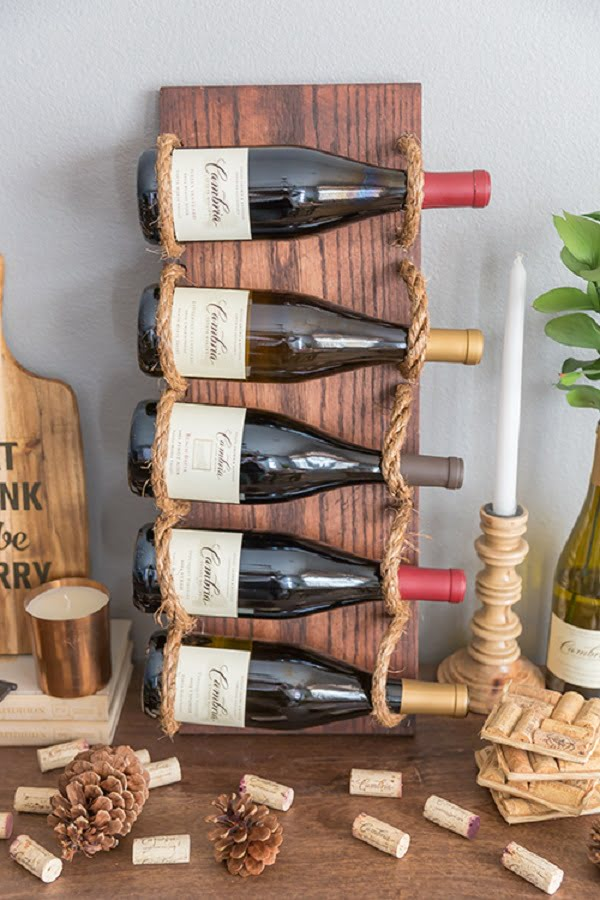 How to make a #DIY #Rustic rope Wine Rack #homedecor