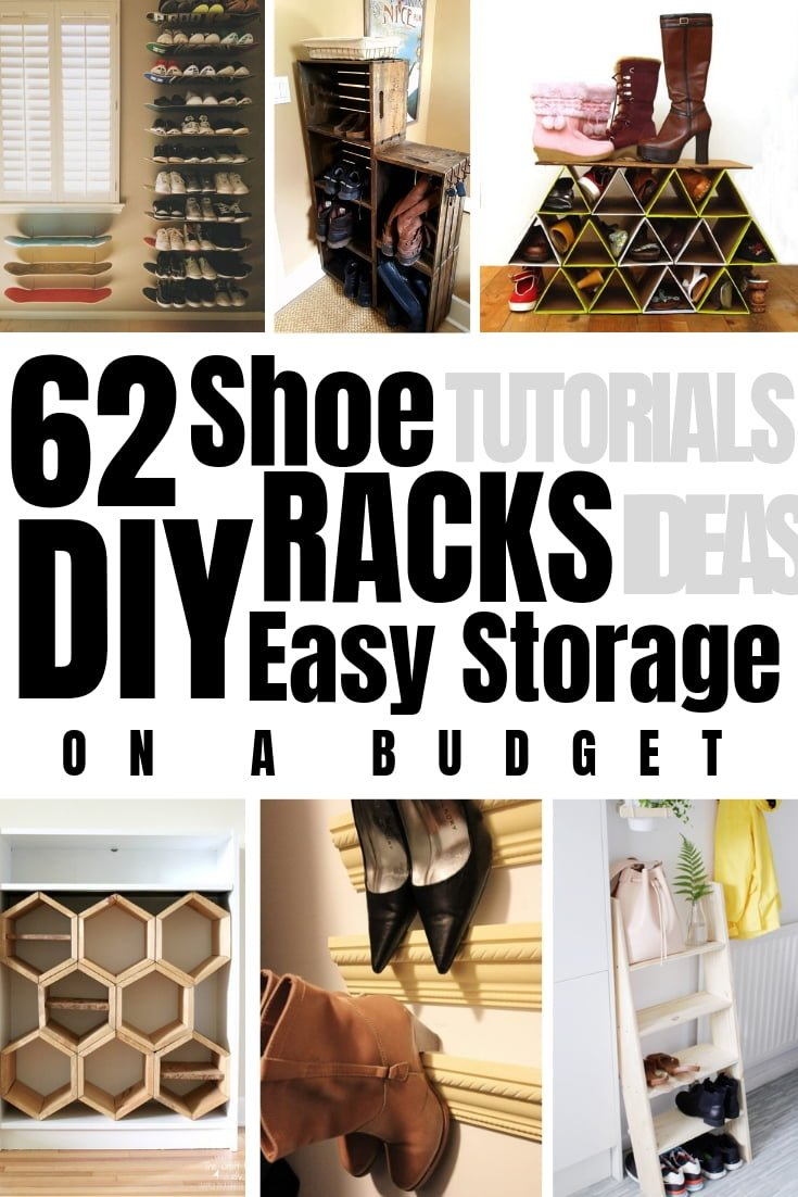 Want to organize all your shoes once and for all? Here are 62 easy DIY shoe rack ideas for terrific shoe storage (with tutorials)! #DIY #organization #homedecor