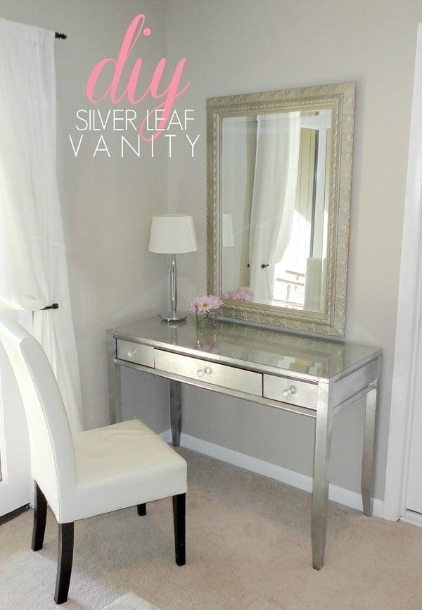 How to make a #DIY silver leaf makeup vanity table #homedecor