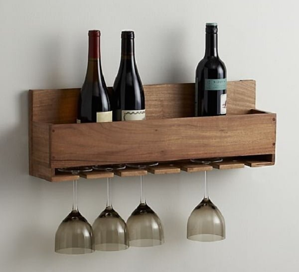 How to make a #DIY wine bottle and stemware rack #homedecor