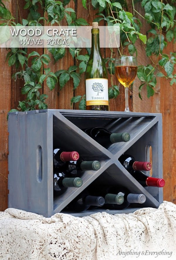 How to make a #DIY Wine Rack form a Wood Crate #homedecor