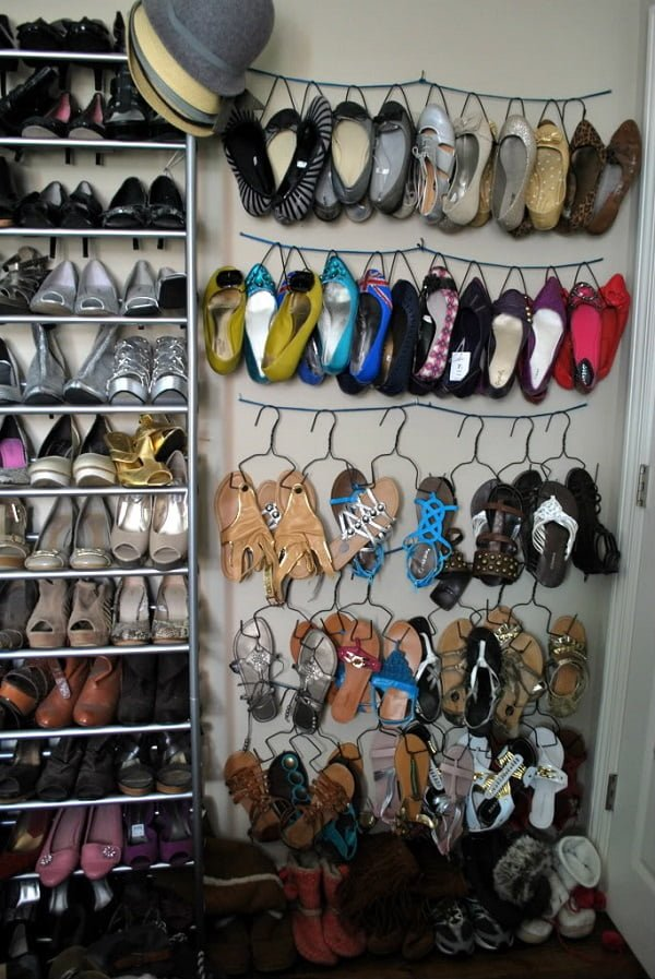 DIY Shoe Rack on a String