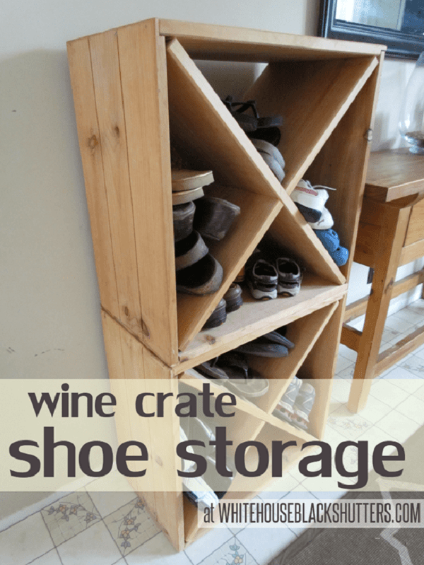 DIY Shoe Rack from Wine Crates