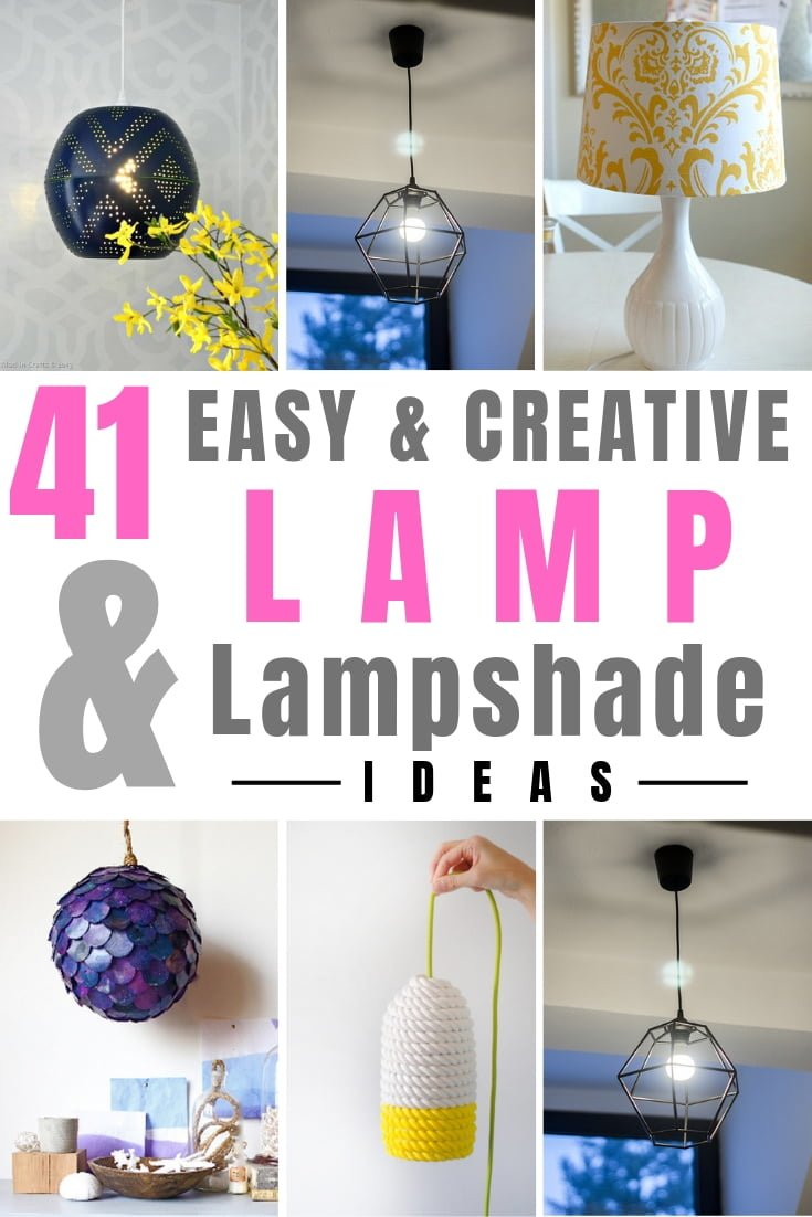Make one of these 41 easy and creative DIY lamps and lampshades for instant home decor improvement. Great list worth saving! #homedecor #DIY