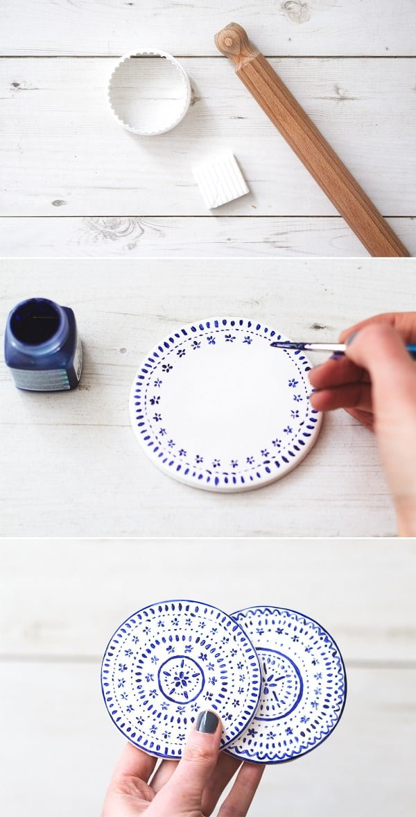 How to make  painted clay coasters