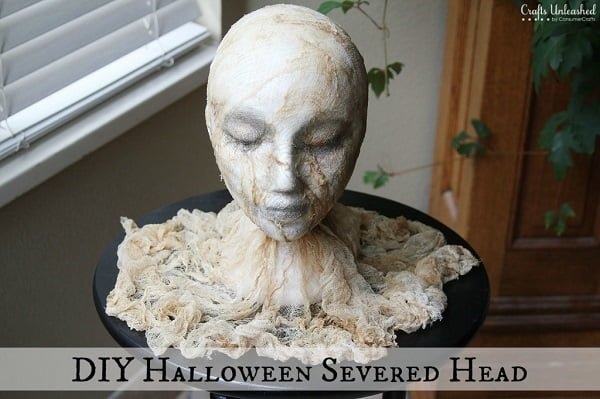 How to make a #DIY Halloween head prop #homedecor