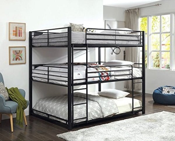 Furniture of America queen triple bunk bed