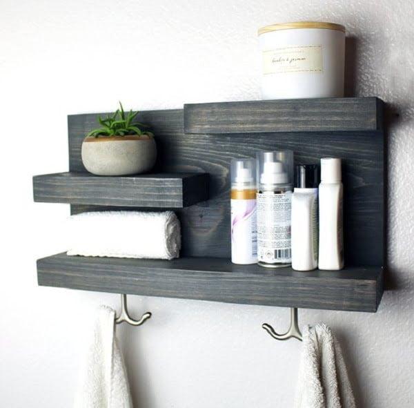 Rustic bathroom wall organizer