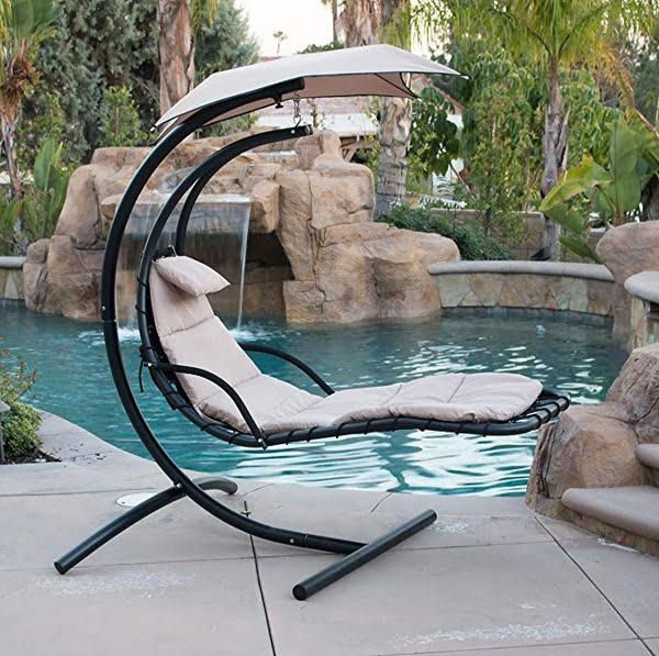 Belleze hanging lounger outdoor swing chair with stand