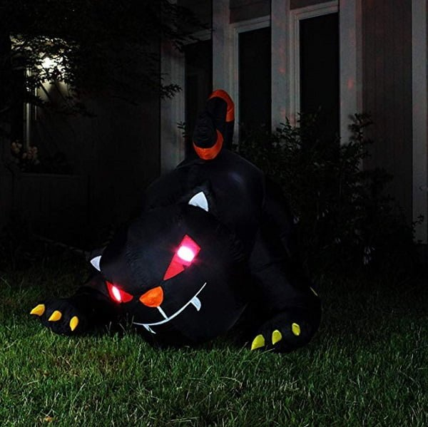 Animated black cat Halloween inflatable