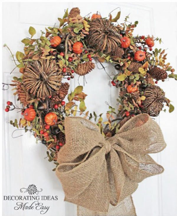 Rustic burlap fall wreath idea