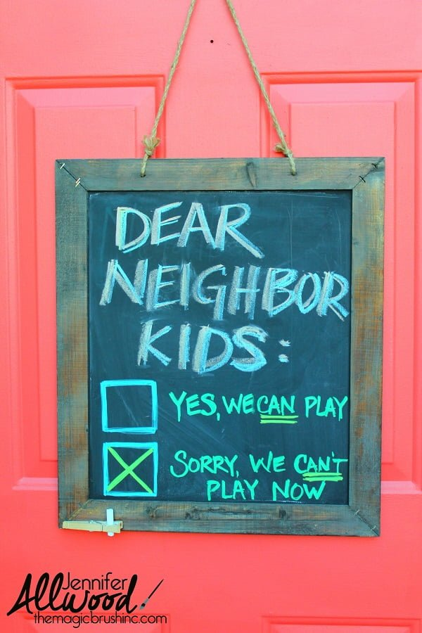 Chalkboard front door decor idea