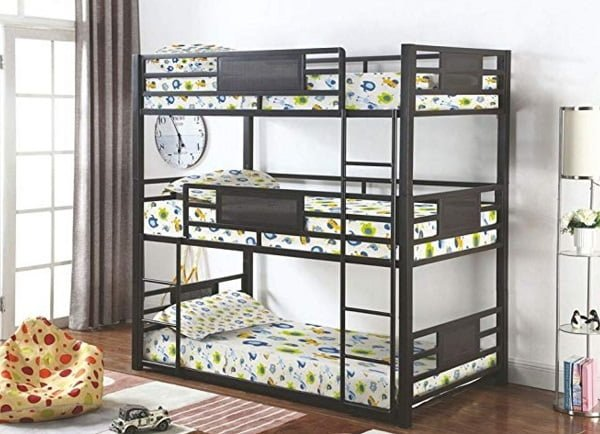 Coaster Home Furnishings metal twin triple trunk bed