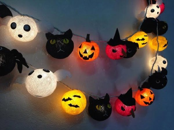 Cotton ball Halloween string lights