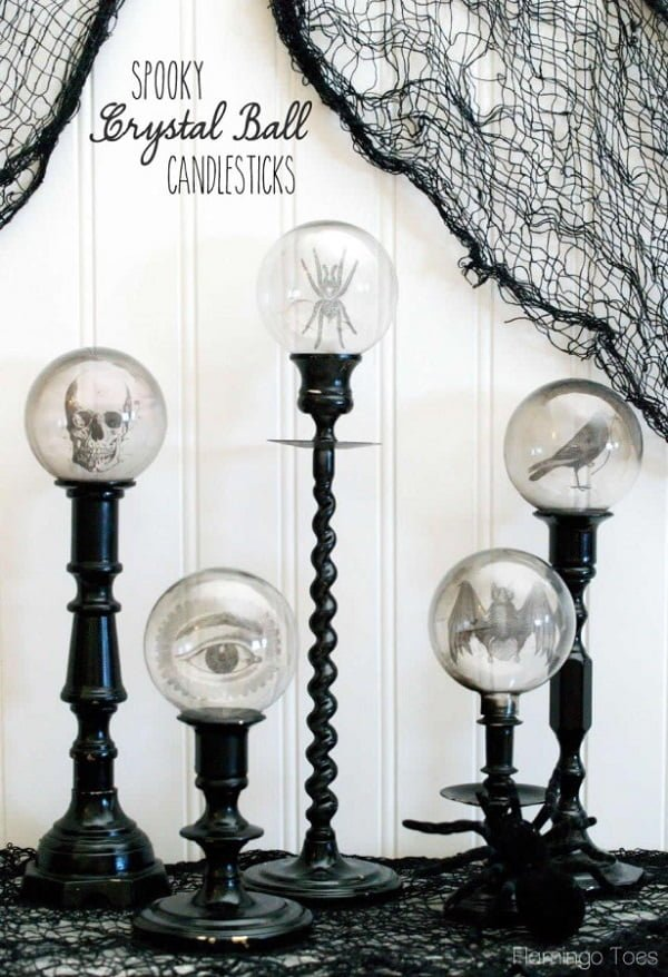 How to make #DIY Halloween spooky crystal ball candlesticks #homedecor