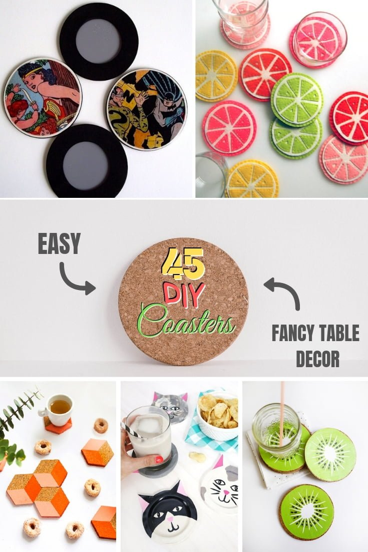 Want to fancy up your table decor. Here's how. This list contains 45 #DIY coaster ideas with tutorials. Worth saving! #DIY #homedecor #crafts