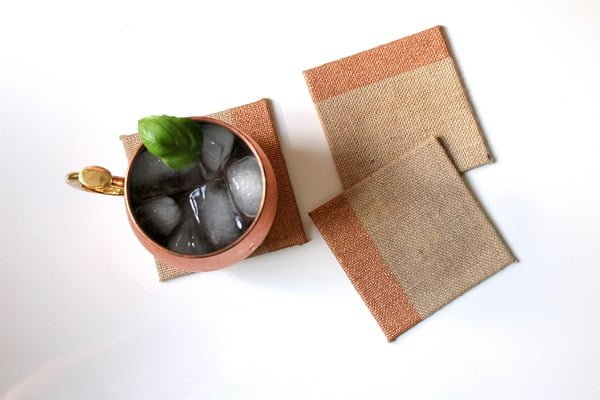 How to make  copper burlap coasters