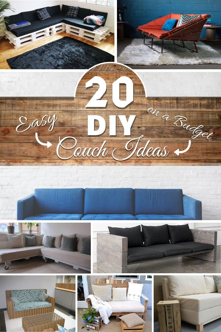 Can you build a DIY couch at home? Yes, and it's a great way to save money on new furniture. Here's a great list of 20 easy ideas with tutorials and plans! #DIY #homedecor #furniture