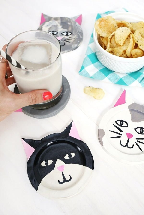 How to make  clay kitty coasters