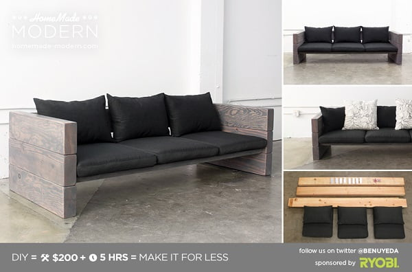 How to build a #DIY modern couch #homedecor