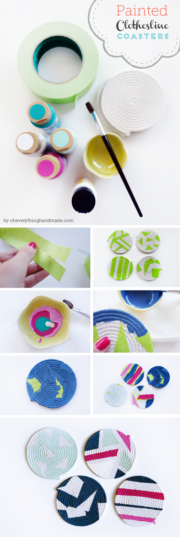 How to make  painted clothesline coasters