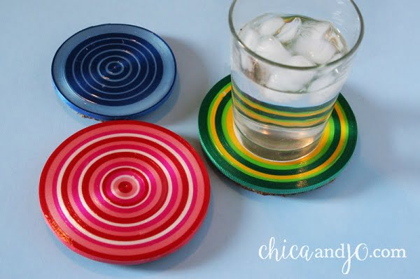 How to make  curling ribbon coasters