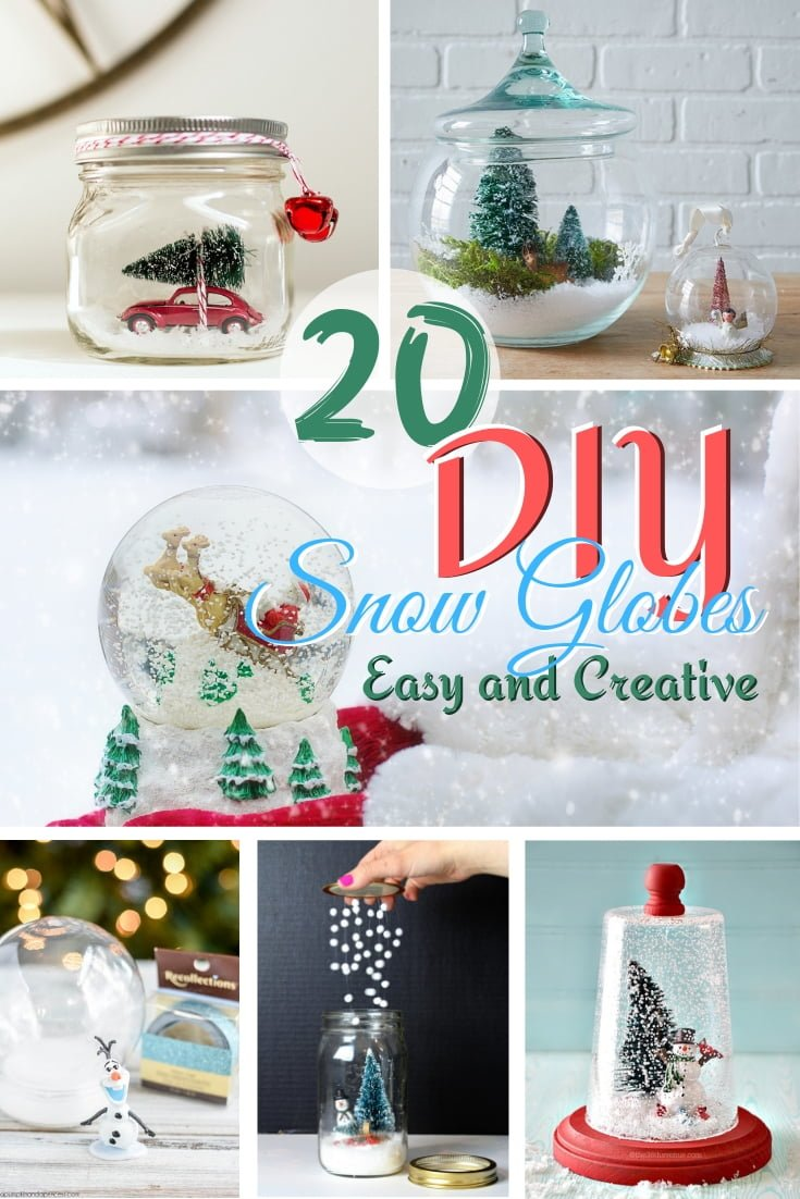 DIY snow globes not only make charming Holiday decor pieces but adorable handmade gifts as well. Here's a great list of 20 DIY snow globes ideas with easy and creative tutorials! #DIY #crafts #homedecor