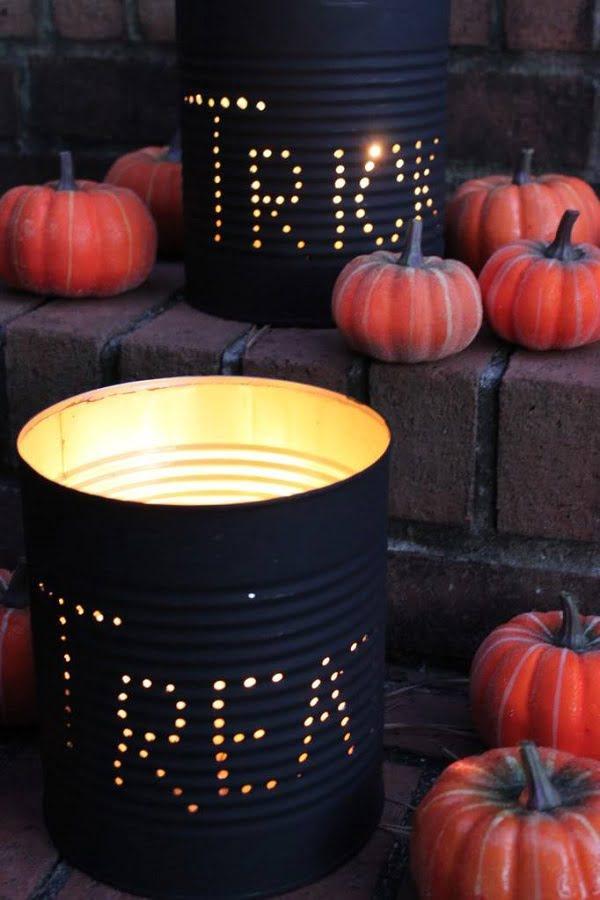 How to make  Halloween tin can luminaries