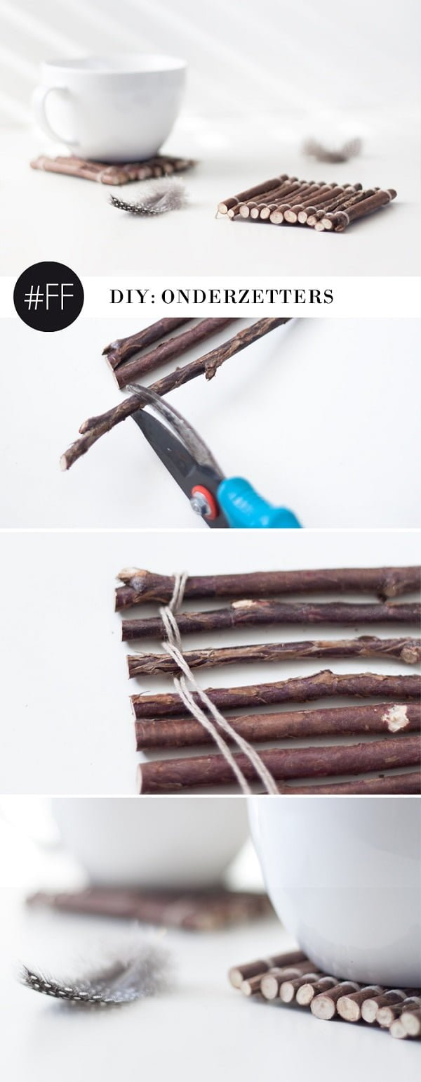 How to make  twig coasters