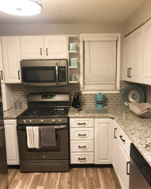 DIY white rustic kitchen cabinets