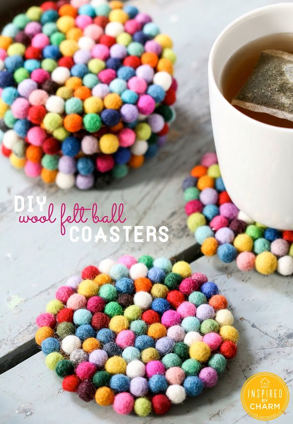 How to make  wool felt ball coasters