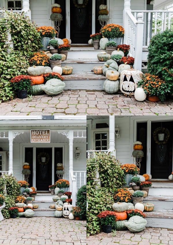 Fall porch outdoor  decoration idea