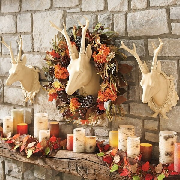 Faux deer head fall wreath idea