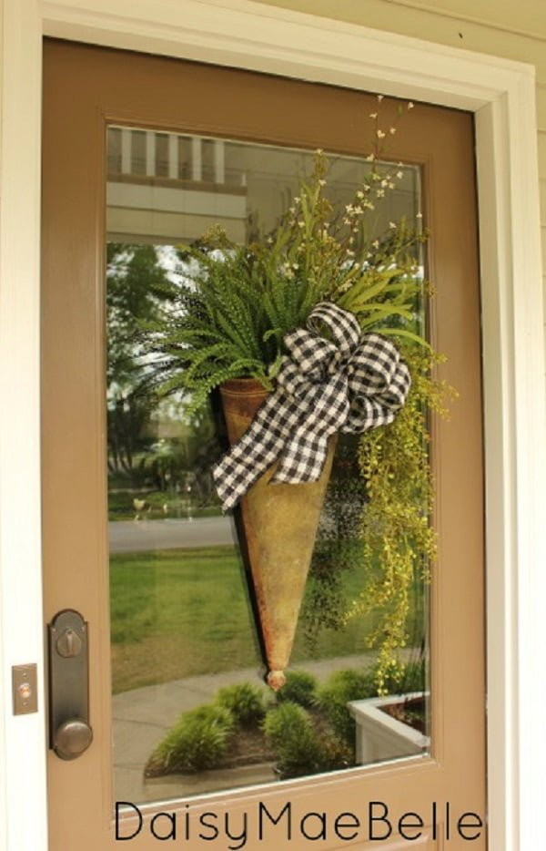Flower arrangement front door decor idea