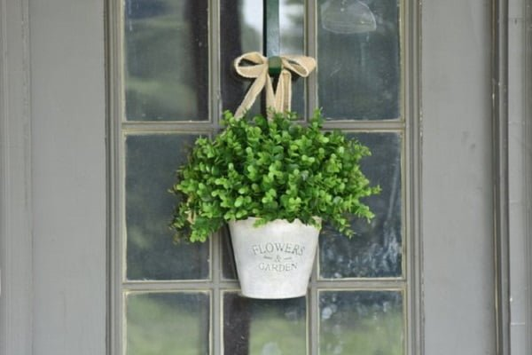 Flower basket front door decor idea