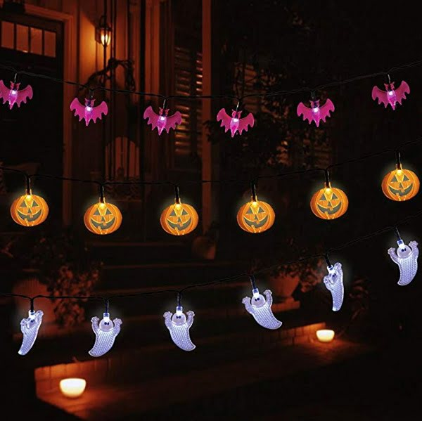 Ghost bat pumpkin Halloween lights