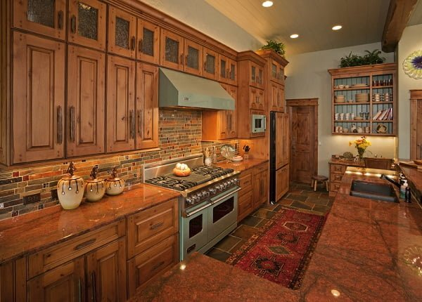 Glazed wood rustic kitchen cabinets