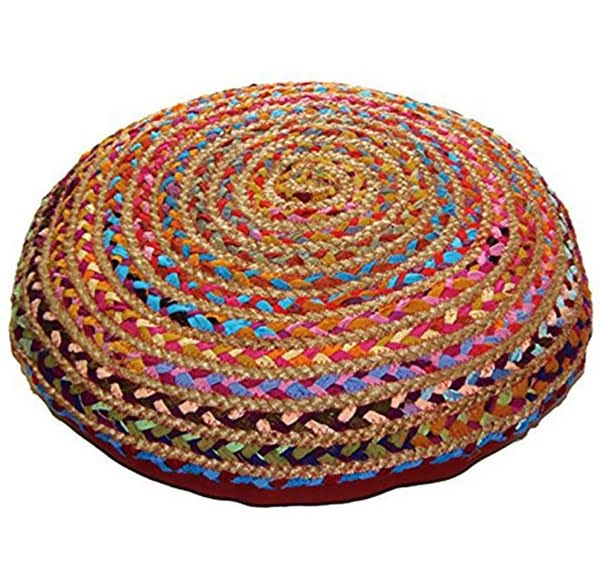 Handwoven braid floor pillow