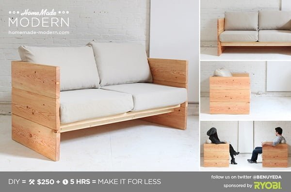 How to make a #DIY modern box couch #homedecor