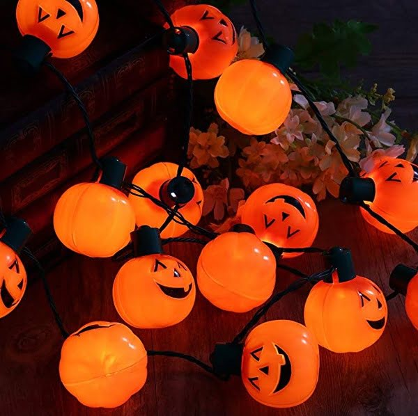 Orange pumpkins Halloween necklace string lights
