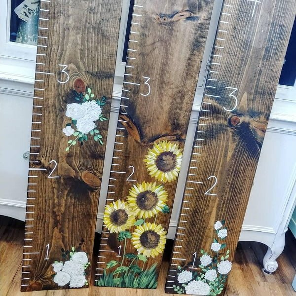 Pallet art growth ruler ideas
