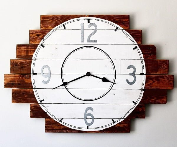 Pallet art wall clock idea
