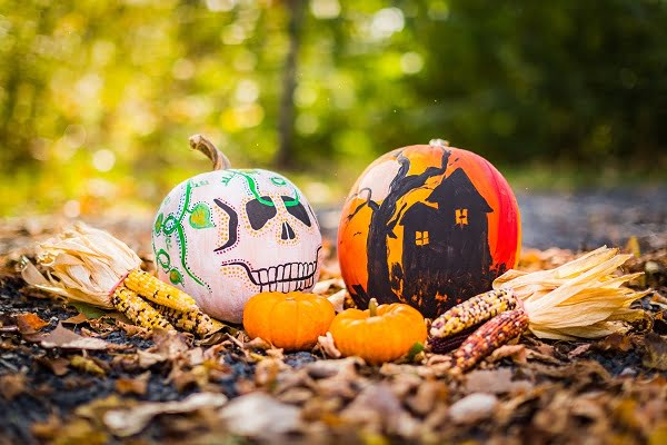 Pumpkin paint art #Halloween decoration idea #homedecor