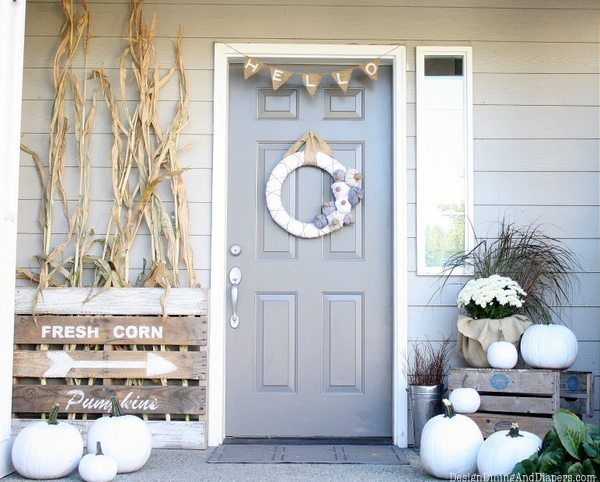 Pumpkins and corn fall  decoration idea