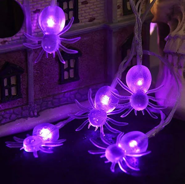 Purple spider Halloween lights