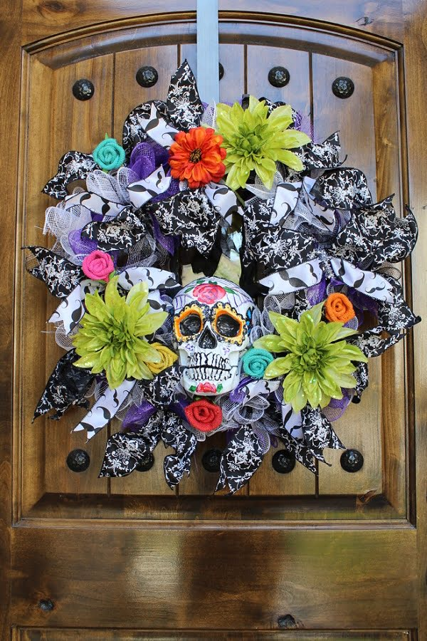 Colorful ribbon sugar skull  wreath